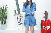 徐琳mini夏季新款定制 牛仔短袖上衣+短褲套裝