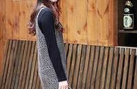 针织吊带裙在这秋冬不露肉的季节秀出女性性感美