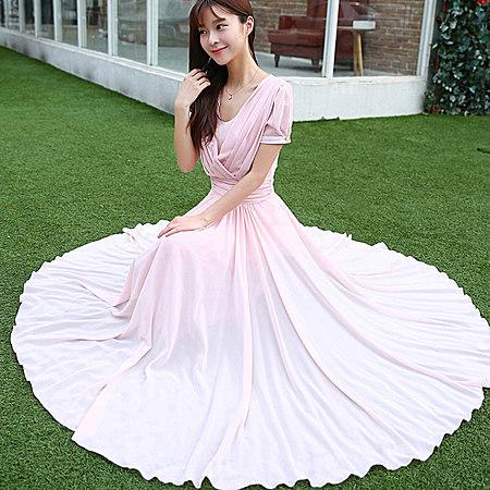 夏季修身雪纺连衣裙 超可爱的裙摆设计,大气时尚,面料透气舒适.