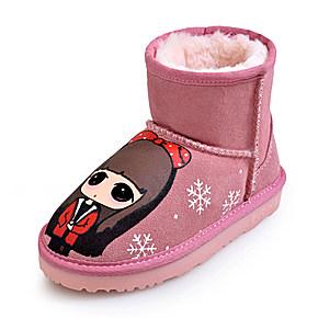 儿童雪地靴真皮女童靴子冬季新款童鞋大童短靴保暖手绘宝宝棉靴女$