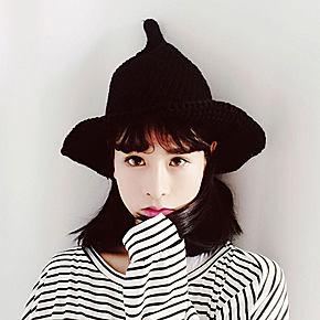 韩版渔夫帽 尖毛线 韩国可爱针织女巫帽