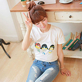 2015夏季包邮新款甜美可爱卡通动漫百搭时尚印花修身圆领短袖t恤