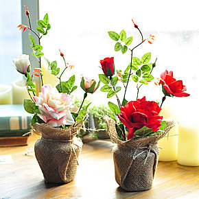 欧式田园美式乡村复古家居装饰品摆件仿真花艺套装玫瑰盆栽摆设