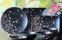 日本系列盘子陶瓷光釉樱花盘碗日式料理餐具套装