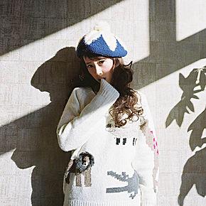 【三猫森系屋】2016森女日系可爱小动物宽松毛衣长袖圆领打底外穿