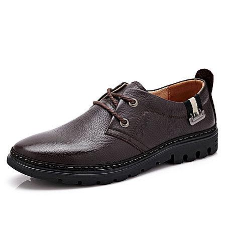 男鞋秋季潮鞋系带休闲鞋头层牛皮休闲皮鞋男真皮