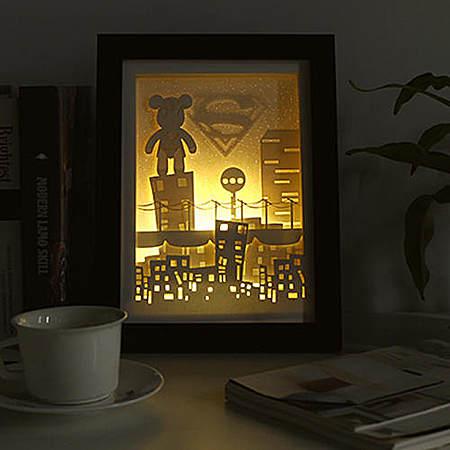 立体风景装饰画小夜灯 创意唯美手工纸雕灯