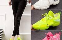 弹力跑步鞋女糖果荧光色休闲运动鞋透气网鞋潮