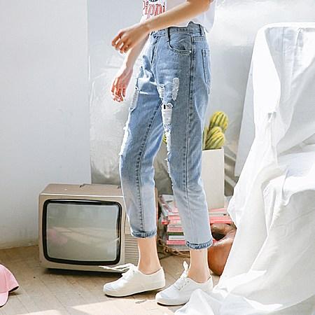 春夏新品乞丐破洞BF宽松牛仔裤韩版渐变色九分裤