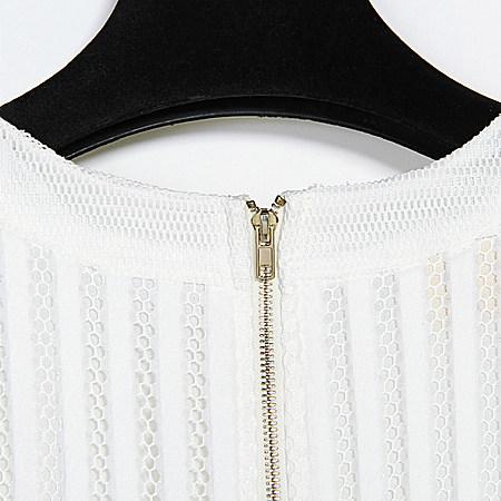 夏季雪纺连衣裙网眼不规则欧美大牌无袖白色裙子