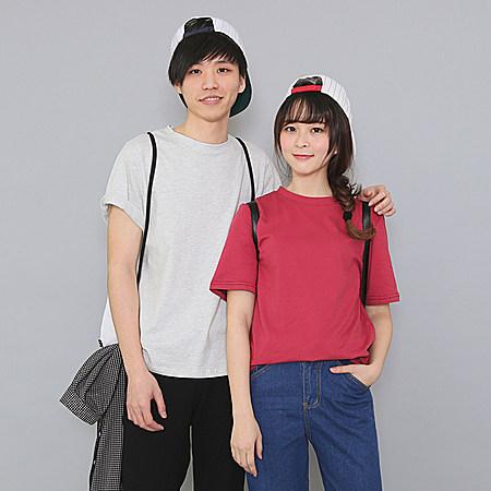韩国百搭纯色情侣宽松圆领纯棉短袖T恤女打底衫