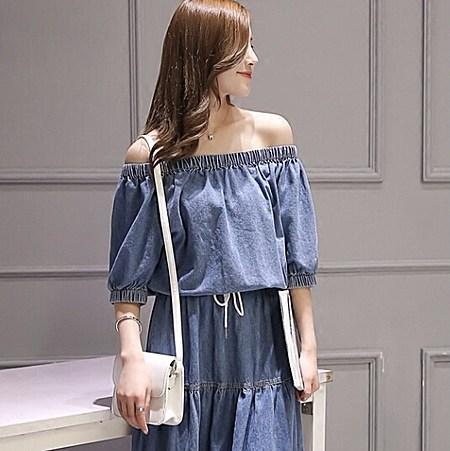 夏季一字领露肩收腰修身显瘦高腰蛋糕裙牛仔长裙