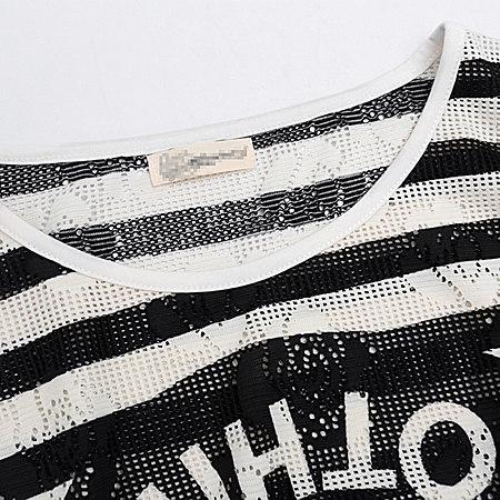 夏装新款休闲镂空条纹字母印花宽松短袖T恤女夏