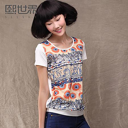 新款韩版上衣花色印花拼接宽松通勤短袖T恤女