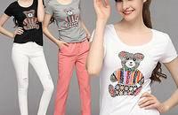 MIUCO夏季新款女装卡通小熊圆领短袖修身T恤上衣