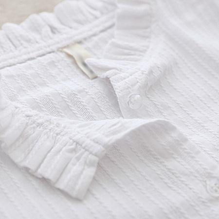 素络/花边领纯棉白衬衣 文艺小清新百搭长袖衬衫