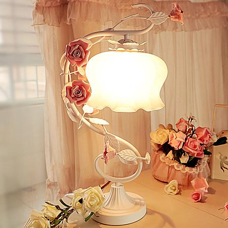 铁艺台灯 玫瑰花田园风公主卧室床头灯