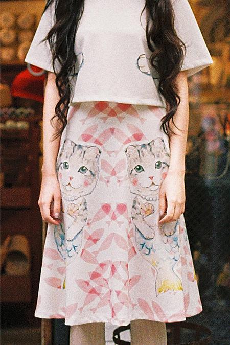 甜美优雅可爱卡通猫咪印花半裙
