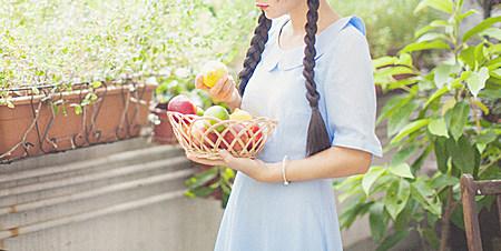 少女系藕粉色复古蓝格纹雪纺修身连衣裙