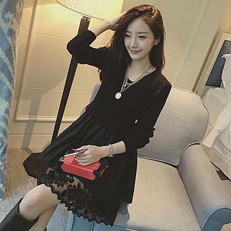新款2017秋装韩版女装假两件欧根纱长袖连衣裙