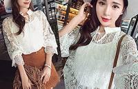 夏裝新款歐美性感縷空系繩七分袖蕾絲衫