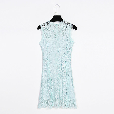 花边无袖蕾丝高腰后蝴蝶结连衣裙