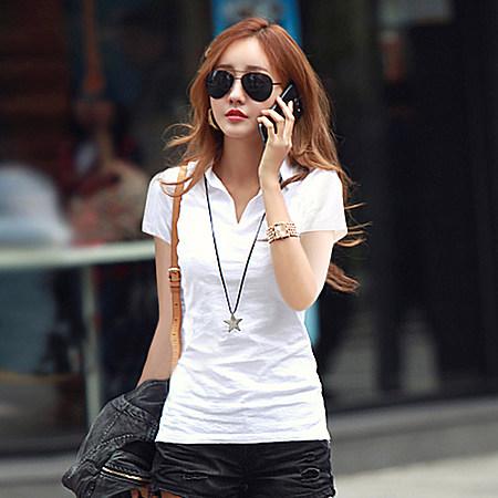 纯棉衬衫领短袖t恤