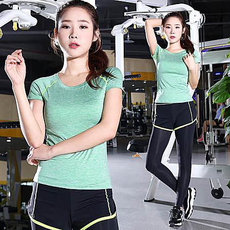 健身服套装女假两件瑜伽服运动跑步短袖T恤+长裤
