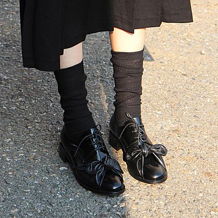 韩国代购 手工 真皮 小众 蝴蝶结 皮鞋
