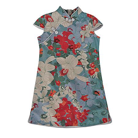 新款红蓝大鸢尾花女童全棉短袖旗袍裙