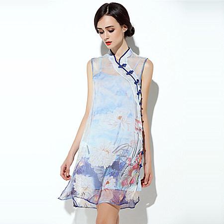 新款中国风水墨画中式旗袍荷花真丝旗袍两件套