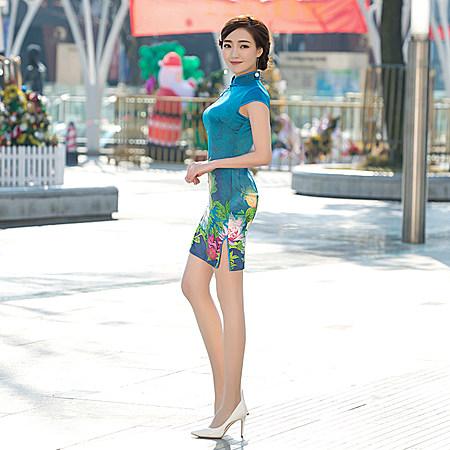 夏秋裝新款旗袍裙復古時尚改良短款修身