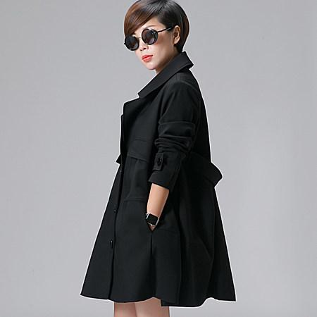 韩版宽松中长款风衣A字版型春秋休闲外套