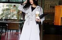 韩国薄款女士中长款风衣外套