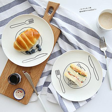 手绘涂鸦情侣早餐盘