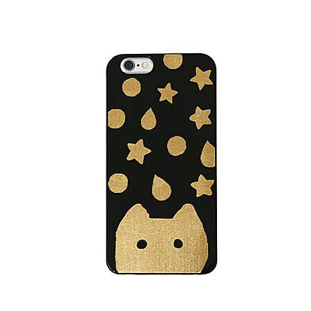 黑色磨砂金箔猫星星手机壳