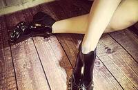 欧美加绒加厚中跟短靴女粗跟风马丁靴雪地靴