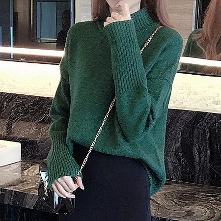 半高领纯色套头毛衣