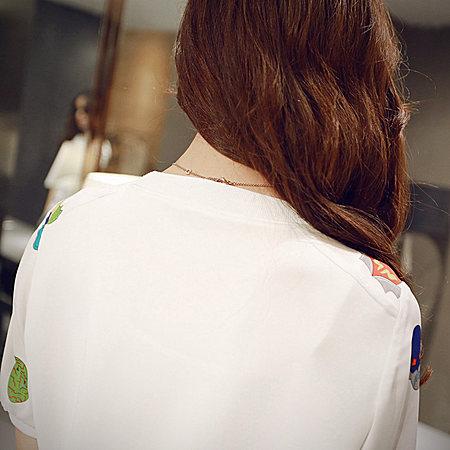 印花雪纺衫