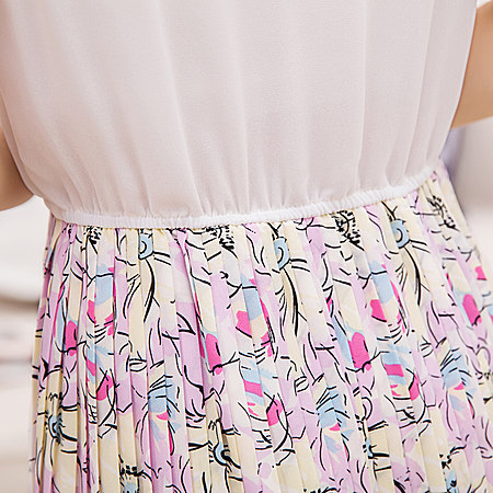 压皱中长款连衣裙无袖雪纺连衣裙海边裙沙滩裙