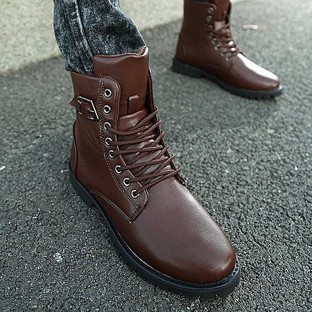 工装靴男英伦真皮男靴军靴马丁靴潮男高帮鞋保暖