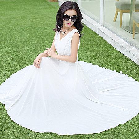 长裙海边沙滩裙旅行无袖雪纺连衣裙修身长裙 潮