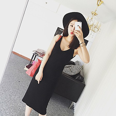 V领无袖针织打底连衣裙新款秋装韩版女装背心裙
