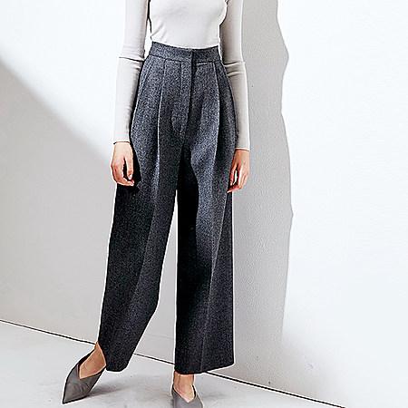 时髦大气场烟灰条纹高腰直筒羊毛裤
