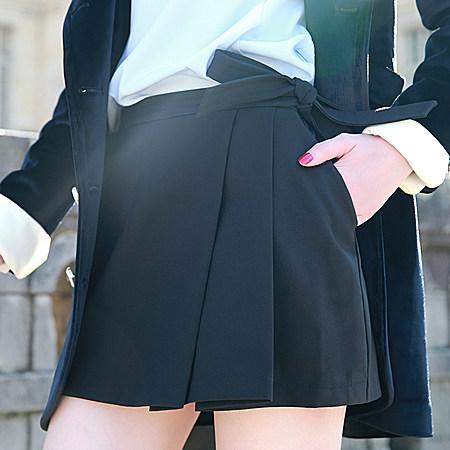 独家定制原创OL名媛风摺叠蝴蝶结黑色裙裤