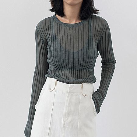 微透圆领套头针织衫