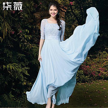 方领蕾丝中袖连衣裙