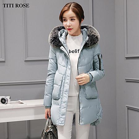 新款冬韩国显瘦大毛领外套羽绒服