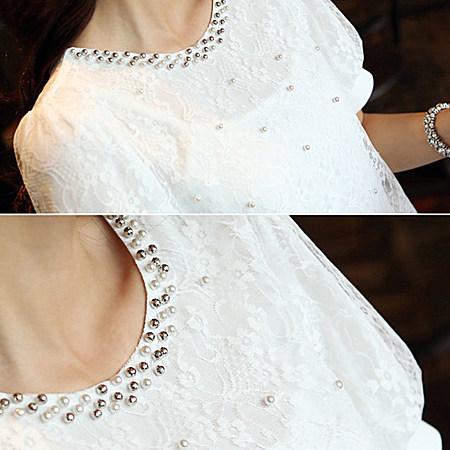 夏装新款韩版大码宽松夏季钉珠女装蕾丝上衣