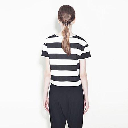 韩版LOVE字母印花条纹T恤 短款宽松上衣